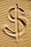 piaska dolarowy znak fotografia stock