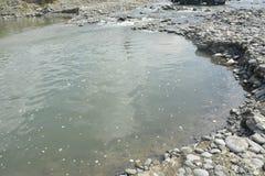 Piaska i żwiru ekstrakcja Mal rzeka, Matanao, Davao Del Sura, Filipiny zdjęcie stock