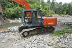 Piaska i żwiru ekstrakcja przy Bansalan, Davao Del Sura, Filipiny obraz stock