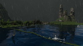Piaska i kamienia miasto z gładkimi przejściami w pogodach zbiory