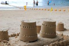 Piaska kasztel na plaży Obraz Royalty Free