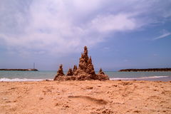 Piaska kasztel na plaży Fotografia Stock