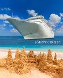 Piaska kasztel na tropikalnej biel plaży Zdjęcia Royalty Free