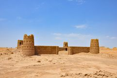 Piaska kasztel w pustynię Iran Obrazy Royalty Free