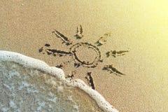 piaska rysunkowy słońce Fotografia Stock