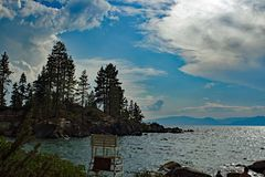 Piaska schronienia plaży park przy Jeziornym Tahoe Zdjęcie Stock