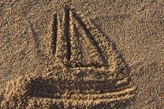 piaska znaka jacht Zdjęcie Royalty Free
