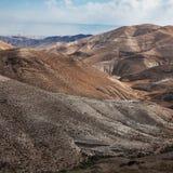 Piaski Judejska pustynia od wzgórza blisko Beit El, (Izrael) Obraz Royalty Free