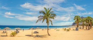 Piaskowata i piękna Teresitas plaża w Tenerife obraz royalty free