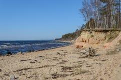 piaskowata morze plaża z szeroką kąt perspektywą Zdjęcie Royalty Free