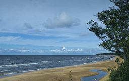 Piaskowata plaża morze bałtyckie, Latvia, Europa Zdjęcie Stock