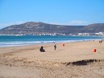 Piaskowata plaża w AGADIR mieście przy Maroko Obraz Royalty Free