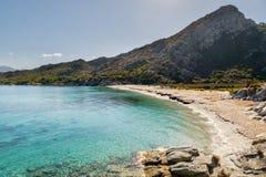 Piaskowata plaża i linia brzegowa pustyni des Agriates w Corsica Zdjęcia Royalty Free