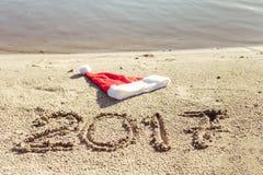 Piaskowata plaża koncepcja nowego roku Fotografia Royalty Free