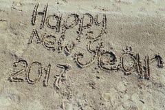 Piaskowata plaża koncepcja nowego roku Obrazy Royalty Free