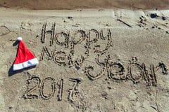Piaskowata plaża koncepcja nowego roku Fotografia Stock