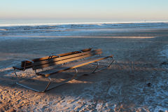 Piaskowata plaża w zima ranku Jurmala, Latvia Zdjęcie Royalty Free