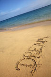 Piaskowata plaża z sen znakiem Obraz Stock
