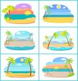 Piaskowate plaże w Szerokim świetle dziennym przy zmierzchu setem i ilustracja wektor