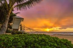 Piaskowatej plaży wschód słońca obrazy royalty free