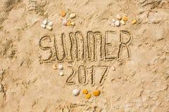 Piaskowatej plaży zbliżenie, Seacoast piaska tło Teksta lato 2017 Zdjęcia Royalty Free