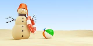 Piaskowaty bałwan na plażowym Lifebuoy na białej tła 3D ilustracji, 3D rendering ilustracji