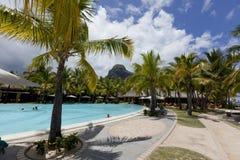 piaskowaty plażowy ocean Miesiąca miodowego o tropikalna wyspa Mauritius Fotografia Royalty Free