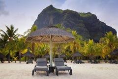 piaskowaty plażowy ocean Miesiąca miodowego o tropikalna wyspa Mauritius Fotografia Stock