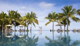 piaskowaty plażowy ocean Honeymooners na tropikalnej wyspie Mauritius Zdjęcie Stock