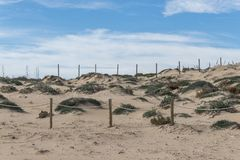 Piaskowaty teren ochraniający od plaży fotografia stock