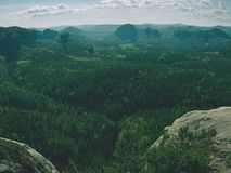 Piaskowcowy szczyt w popularnym naturalnym parku Niewygładzony skalisty teren fotografia stock
