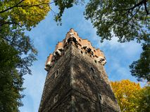 Piast tower Piastowska wieza , Castle hill, Cieszyn, Poland. Europe - old historical defense building, now cultural heritage, landmark, and monument. Low angle royalty free stock photo