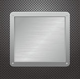 Piastra metallica lucida su una priorità bassa strutturata Fotografie Stock Libere da Diritti