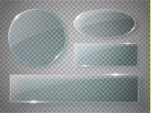 Piastre di vetro messe Insegne acriliche di vettore su fondo trasparente Fotografia Stock Libera da Diritti