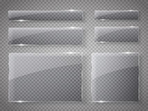 Piastre di vetro messe Insegne di vetro di vettore su fondo trasparente Fotografie Stock