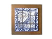 Piastrella di ceramica antica della mappa del ricordo della Terra Santa incorniciata Fotografia Stock Libera da Diritti