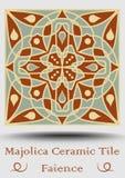 Piastrella di ceramica della maiolica nel verde beige e verde oliva ed in terracotta di rosso Faenza ceramica d'annata Glassa tra Fotografia Stock Libera da Diritti