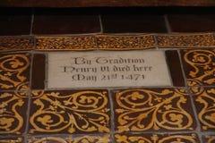 Piastrelli Henry VI di segno della morte dell'Inghilterra alla torre di Londra Immagine Stock Libera da Diritti