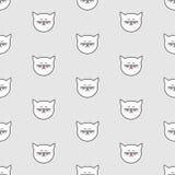 Piastrelli il modello di vettore con i gatti bianchi su fondo grigio royalty illustrazione gratis
