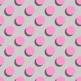 Piastrelli pois rosa del modello di vettore i grandi con ombra su fondo grigio illustrazione di stock