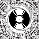 Piastrina del vinile di vettore con i simboli musicali Immagine Stock