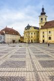 Piata mare central square in historical Sibiu Stock Photos