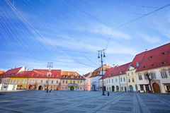 Piata Mare (Large square) in Sibiu, Romania Royalty Free Stock Photo