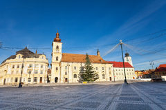 Piata Mare (Large square) view with buildings Royalty Free Stock Photos