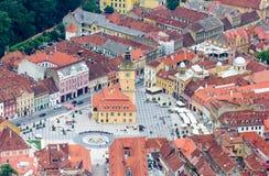 Piata Sfatului广场的鸟瞰图在布拉索夫 库存图片