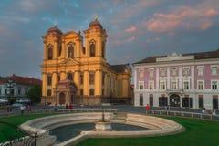 Piata Unirii Union Square i Timisoara arkivbild