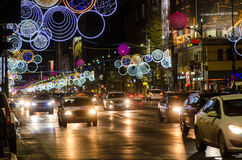 Piata Universitatii, Bucharest, Christmas lights Stock Photos