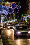 Piata Universitatii, Bucharest, Christmas lights Royalty Free Stock Photography