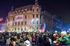 Piata Universitatii during November 2015 demonstrations Stock Photography