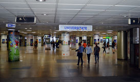 Piata Universitatii (universitetfyrkant) tunnelbanastation, Bucharest Royaltyfria Foton